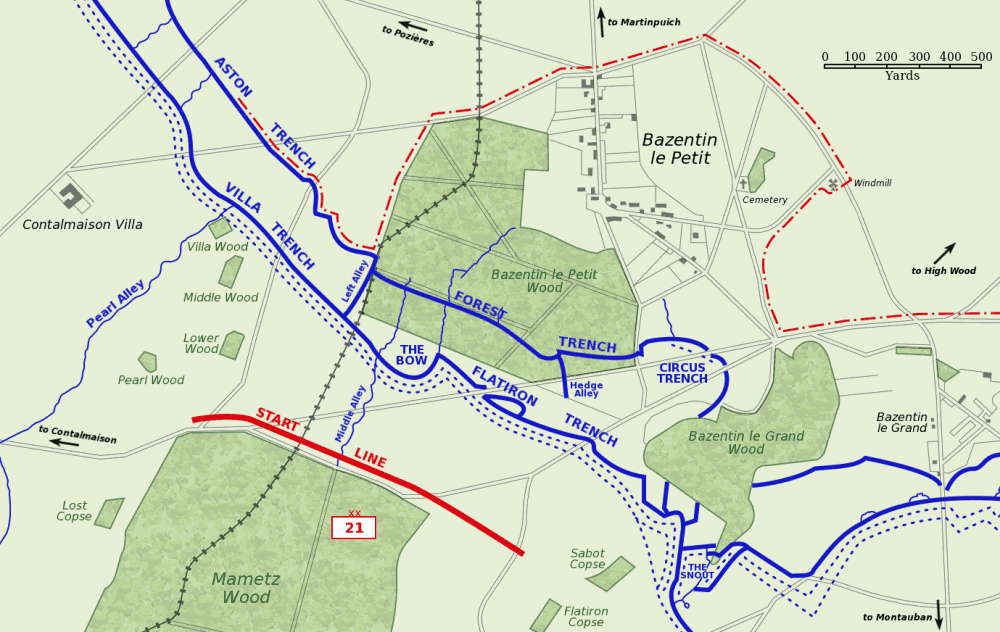 Map of Bazentin le Petit sector on the morning of 14 July 1916, Battle of Bazentin Ridge, showing the German second defensive position. German trenches are shown in blue, including the communications trenches connecting to the (captured) first position.