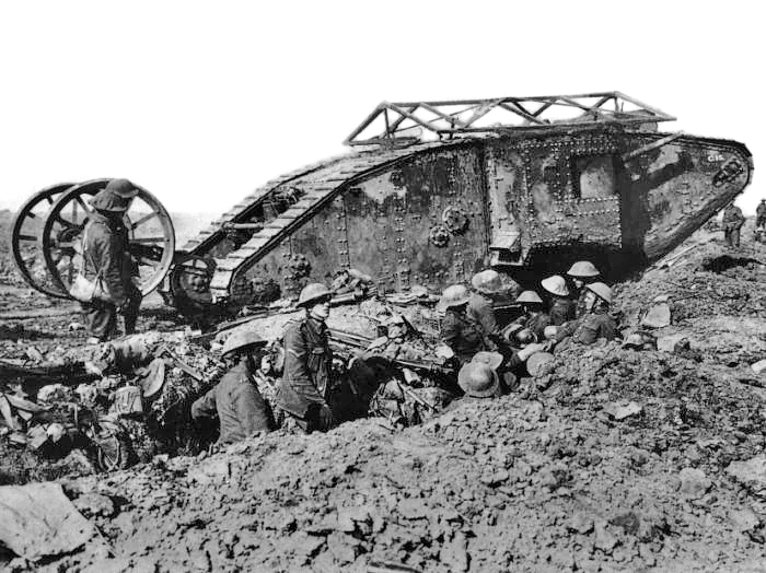 British Mark I male tank near Thiepval, 25 September 1916.