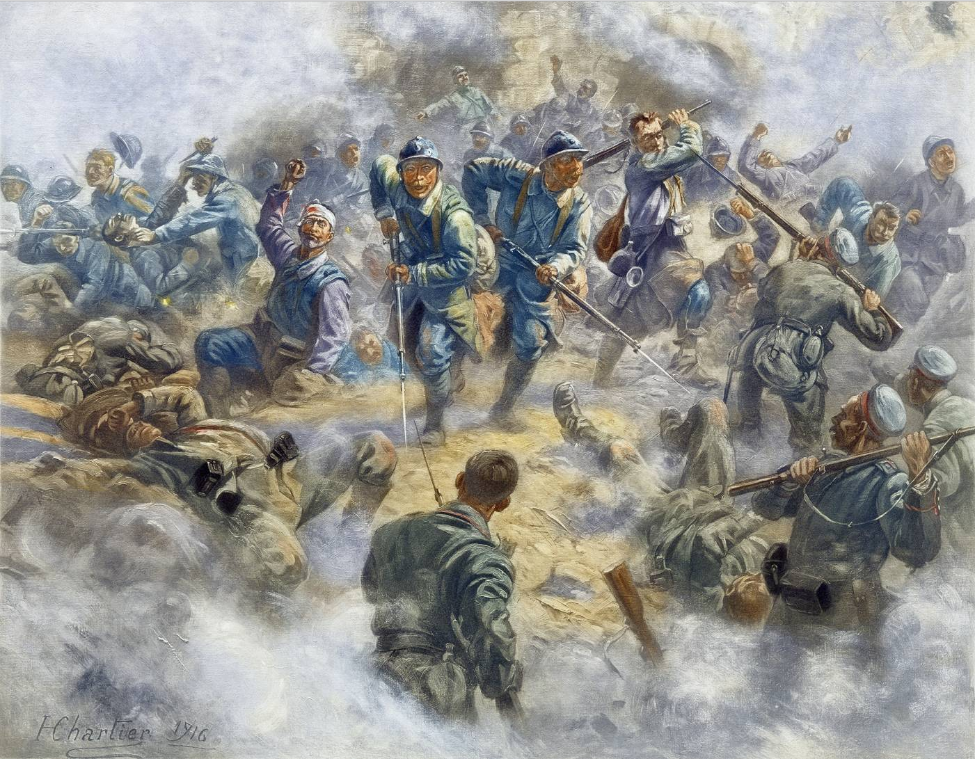 French infantry recapturing Fort Douaumont on the 24 October 1916. Henri Georges Jacques CHARTIER (1859-1924)