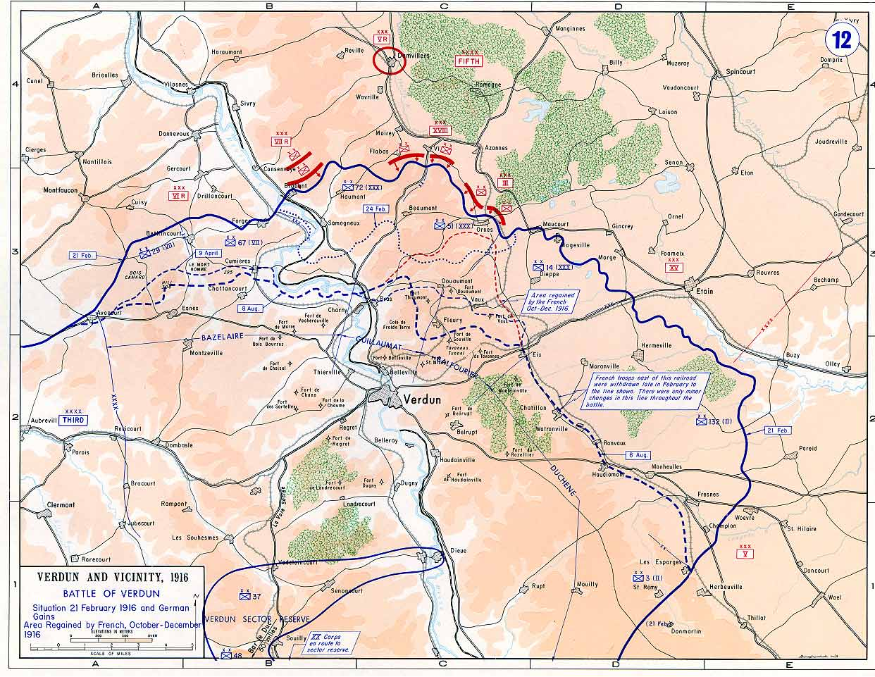 Map of the battlefield at Verdun.