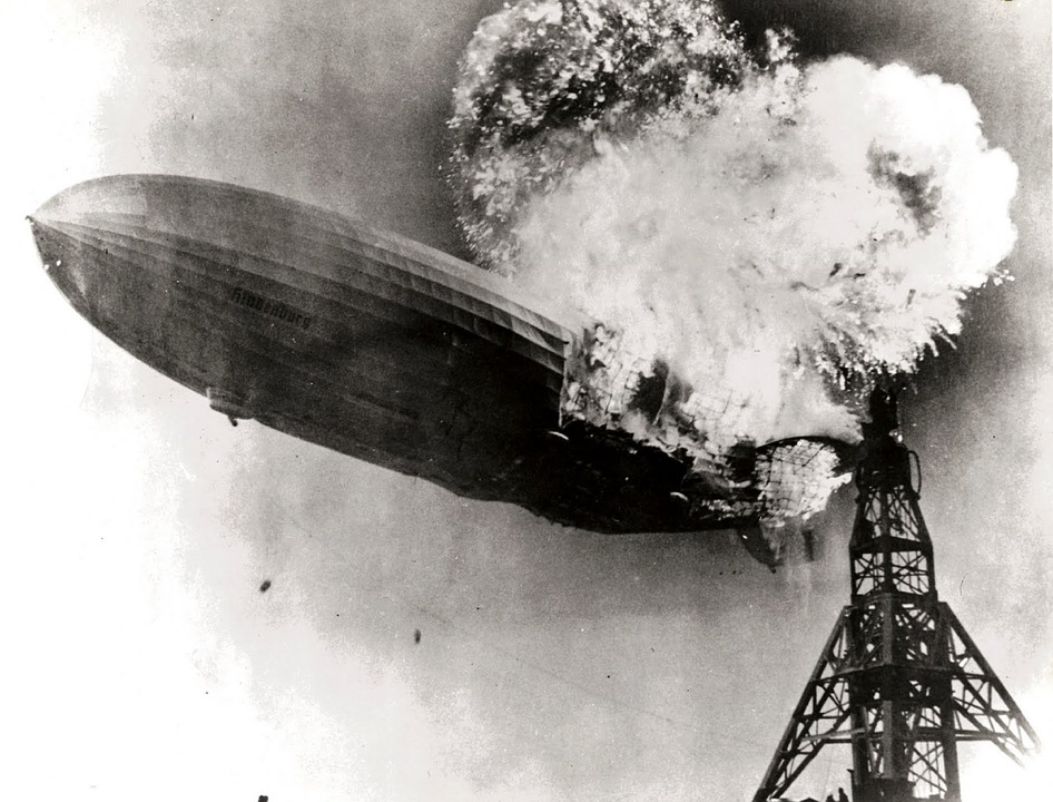 The German passenger airship LZ 129 Hindenburg caught fire and was destroyed during its attempt to dock with its mooring mast at Naval Air Station Lakehurst. On board were 97 people (36 passengers and 61 crewmen); there were 36 fatalities (13 passengers and 22 crewmen, 1 worker on the ground). The disaster was the subject of newsreel coverage, photographs, and Herbert Morrison's recorded radio eyewitness reports from the landing field, which were broadcast the next day.